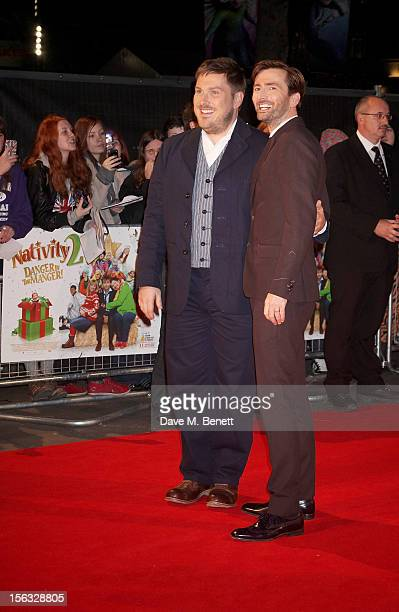 Marc Wootton and David Tennant attend the 'Nativity 2 Danger In The Manger' premiere at Empire Leicester Square on November 13 2012 in London England