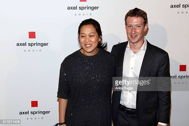 Marc Zuckerberg and his wife Priscilla Chan Zuckerberg arrive to the Axel Springer Award ceremony on February 25 2016 in Berlin Germany