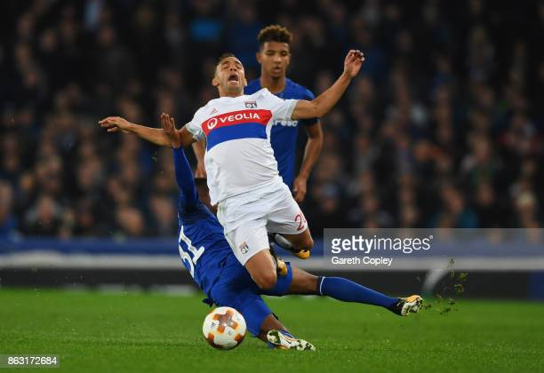 Marcal of Lyon is fouled by Ademola Lookman of Everton during the UEFA Europa League Group E match between Everton FC and Olympique Lyon at Goodison...