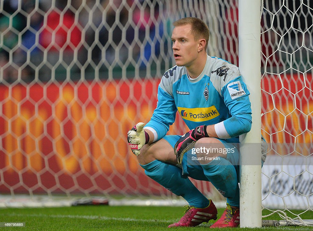 Marc-André ter Stegen of Gladbach in action during the Bundesliga match between Werder Bremen and Borussia Moenchengladbach at Weserstadion on February 15, 2014 in Bremen, Germany.
