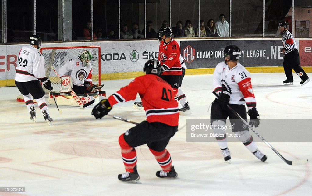 Marc-Andre Bernier of Briancon Diables Rouges takes a shot on goal during the Champions Hockey League group stage game between Briancon Diables Rouges and Frolunda Gothenburg on August 23, 2014 in Briancon, France.