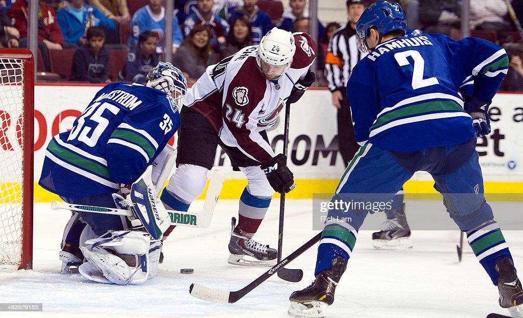 Marc-Andre Cliche #24 of the Colorado Avalanche is stopped in close by goalie Jacob Markstrom #35 of the Vancouver Canucks during the first period in NHL action on April 10, 2014 at Rogers Arena in Vancouver, British Columbia, Canada. Dan Hamhuis #2 of the Vancouver Canucks tries to help defend on the play.