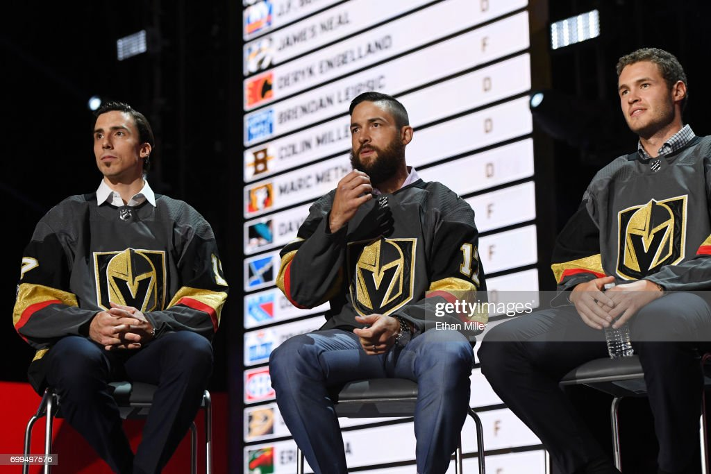 Marc-Andre Fleury, Deryk Engelland and Brayden McNabb address the crowd during the 2017 NHL Expansion Draft Roundtable at T-Mobile Arena on June 21, 2017 in Las Vegas, Nevada.