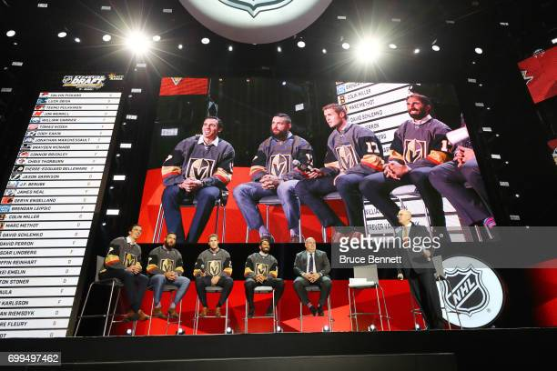MarcAndre Fleury Deryk Engelland Brayden McNabb and Jason Garrison address the crowd during the 2017 NHL Expansion Draft Roundtable at TMobile Arena...