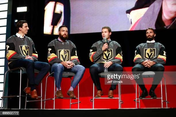 MarcAndre Fleury Deryk Engelland Brayden McNabb and Jason Garrison speak onstage during the Vegas Golden Knights Round Table Rally after the 2017 NHL...