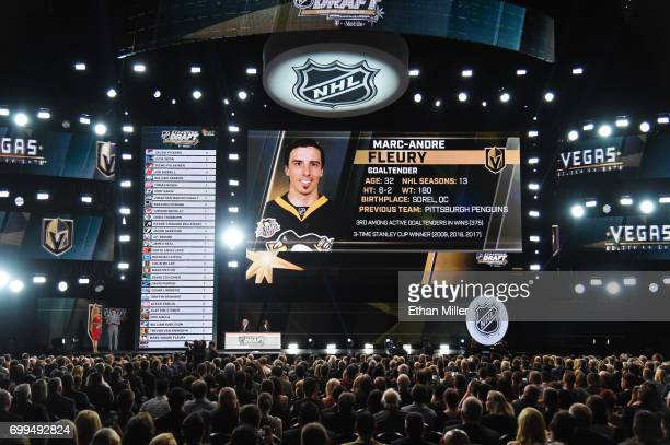 MarcAndre Fleury is selected by the Las Vegas Golden Knights during the 2017 NHL Awards and Expansion Draft at TMobile Arena on June 21 2017 in Las...