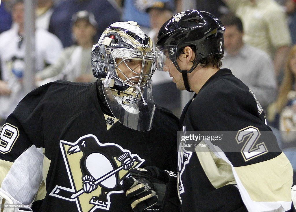 <a gi-track='captionPersonalityLinkClicked' href=/galleries/search?phrase=Marc-Andre+Fleury&family=editorial&specificpeople=233779 ng-click='$event.stopPropagation()'>Marc-Andre Fleury</a> #29 of the Pittsburgh Penguins celebrates after shutting out the New York Islanders in Game One of the Eastern Conference Quarterfinals during the 2013 NHL Stanley Cup Playoffs at Consol Energy Center on May 1, 2013 in Pittsburgh, Pennsylvania. The Penguins won 5-0.