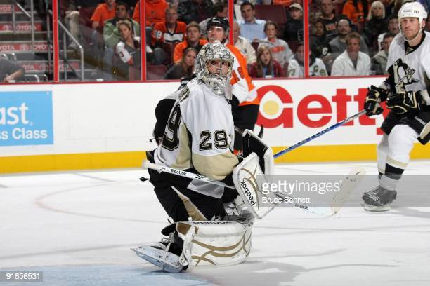 MarcAndre Fleury of the Pittsburgh Penguins defends the net during the game against the Philadelphia Flyers at the Wachovia Center on October 8 2009...