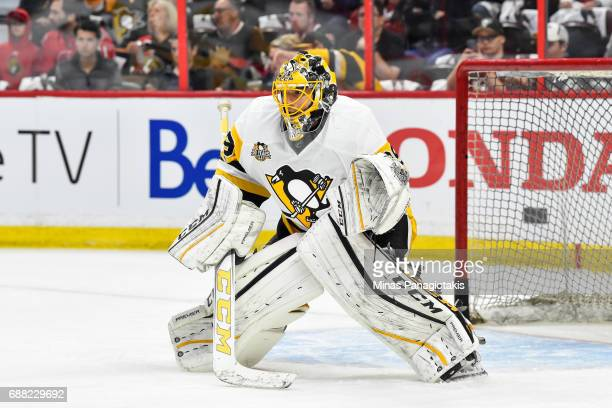 MarcAndre Fleury of the Pittsburgh Penguins gets into position during the warmup against the Ottawa Senators in Game Six of the Eastern Conference...