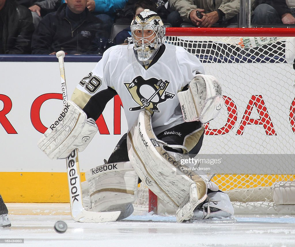 <a gi-track='captionPersonalityLinkClicked' href=/galleries/search?phrase=Marc-Andre+Fleury&family=editorial&specificpeople=233779 ng-click='$event.stopPropagation()'>Marc-Andre Fleury</a> #29 of the Pittsburgh Penguins gets set to stop an incoming shot in a game against the Toronto Maple Leafs on March 9, 2013 at the Air Canada Centre in Toronto, Ontario, Canada. The Penguins defeated the Leafs 5-4 in an overtime shootout.
