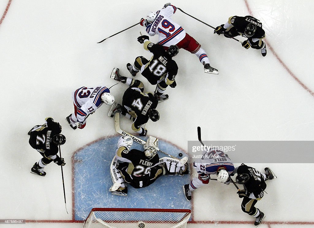 <a gi-track='captionPersonalityLinkClicked' href=/galleries/search?phrase=Marc-Andre+Fleury&family=editorial&specificpeople=233779 ng-click='$event.stopPropagation()'>Marc-Andre Fleury</a> #29 of the Pittsburgh Penguins makes a save against the New York Rangers in Game One of the Second Round of the 2014 NHL Stanley Cup Playoffs at Consol Energy Center on May 02, 2014 in Pittsburgh, Pennsylvania.