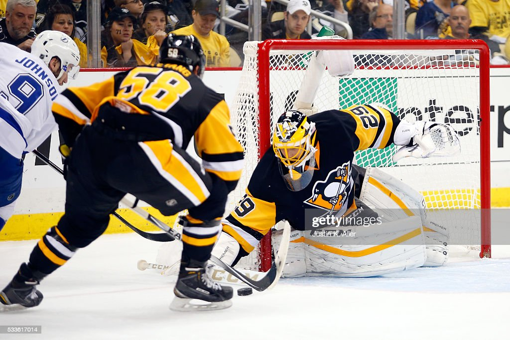 Marc-Andre Fleury #29 of the Pittsburgh Penguins makes a save against the Tampa Bay Lightning during the third period in Game Five of the Eastern Conference Final during the 2016 NHL Stanley Cup Playoffs at Consol Energy Center on May 22, 2016 in Pittsburgh, Pennsylvania.