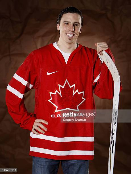 MarcAndre Fleury of the Pittsburgh Penguins poses for a portrait in his Team Canada 2010 Olympic jersey on February 3 2010 at Mellon Arena in...
