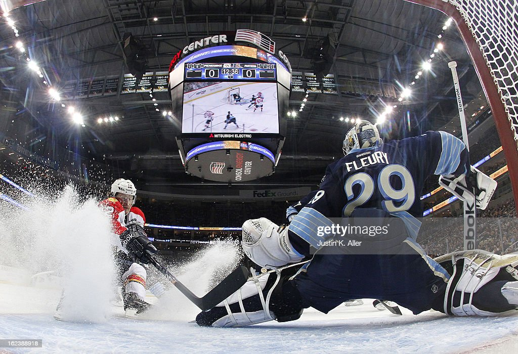 Marc-Andre Fleury #29 of the Pittsburgh Penguins protects the goal in front of Jack Skille #12 of the Florida Panthers during the game at Consol Energy Center on February 22, 2013 in Pittsburgh, Pennsylvania.