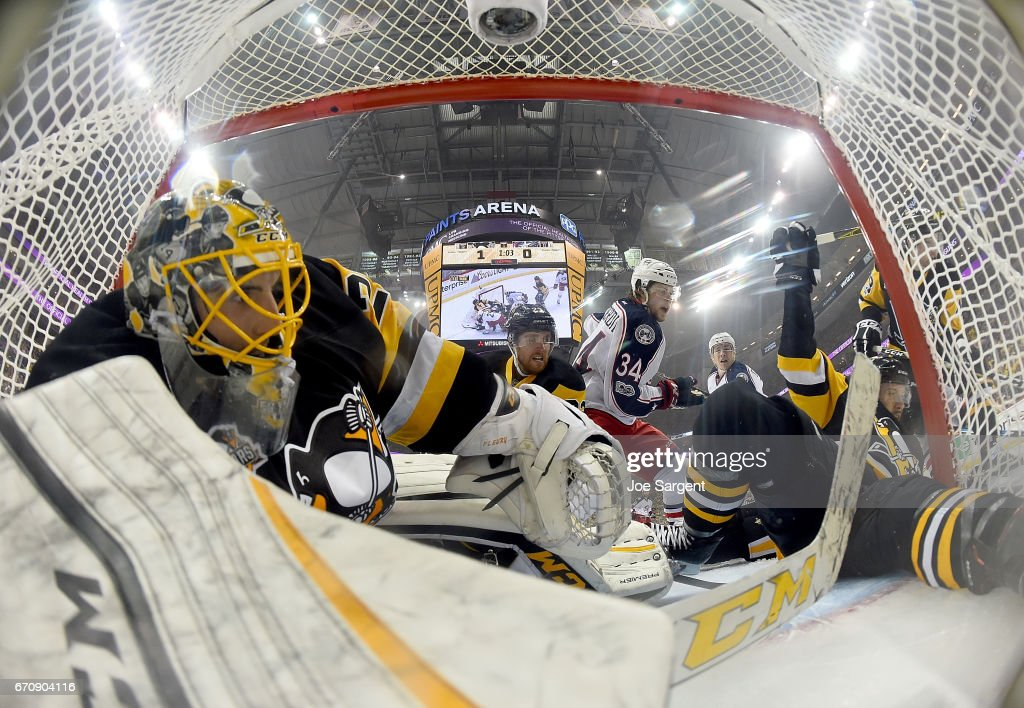Marc-Andre Fleury #29 of the Pittsburgh Penguins protects the net against Josh Anderson #34 of the Columbus Blue Jackets in Game Five of the Eastern Conference First Round during the 2017 NHL Stanley Cup Playoffs at PPG Paints Arena on April 20, 2017 in Pittsburgh, Pennsylvania.