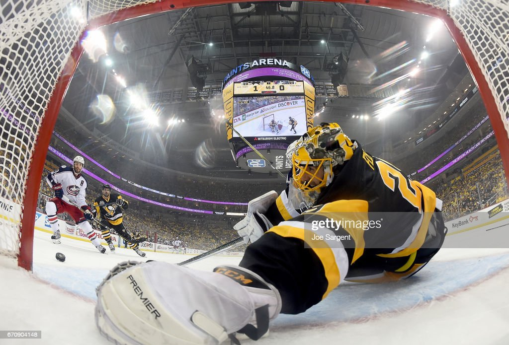 Marc-Andre Fleury #29 of the Pittsburgh Penguins protects the net against the Columbus Blue Jackets in Game Five of the Eastern Conference First Round during the 2017 NHL Stanley Cup Playoffs at PPG Paints Arena on April 20, 2017 in Pittsburgh, Pennsylvania.