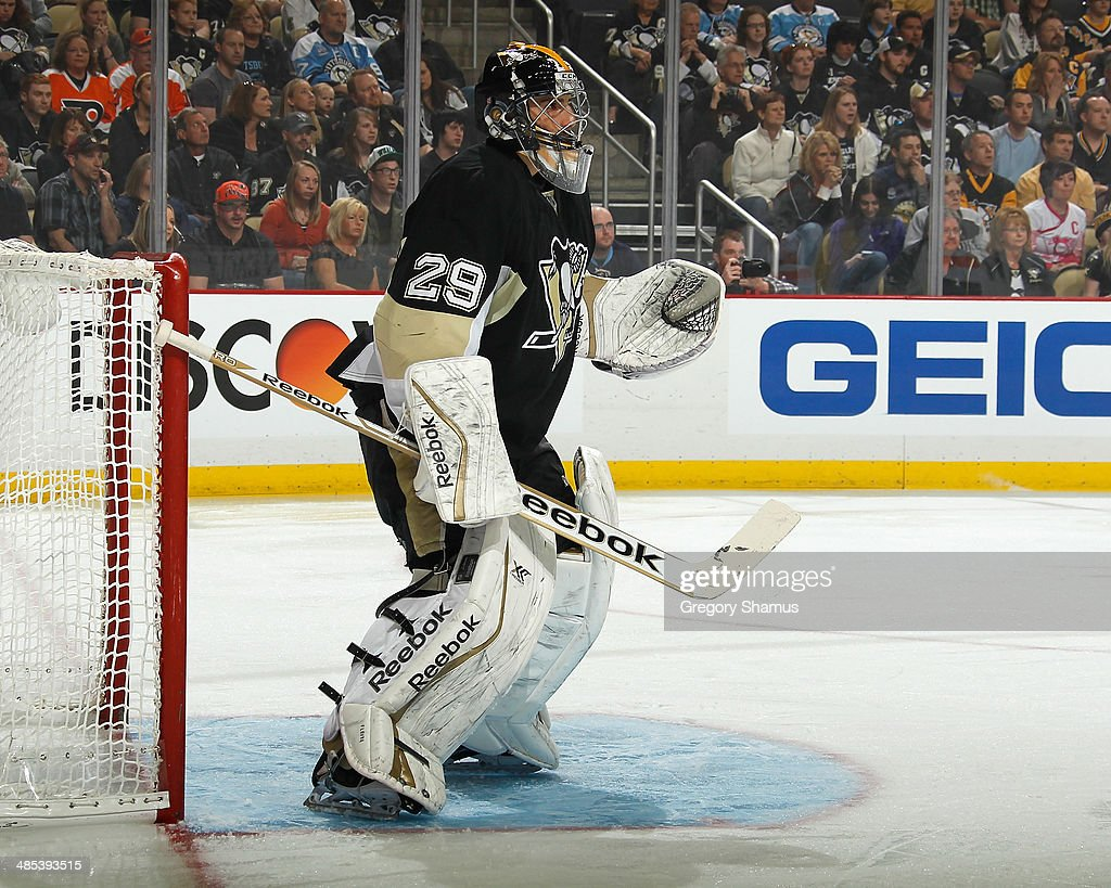 Marc-Andre Fleury #29 of the Pittsburgh Penguins skates against the Philadelphia Flyers on April 12, 2014 at Consol Energy Center in Pittsburgh, Pennsylvania.