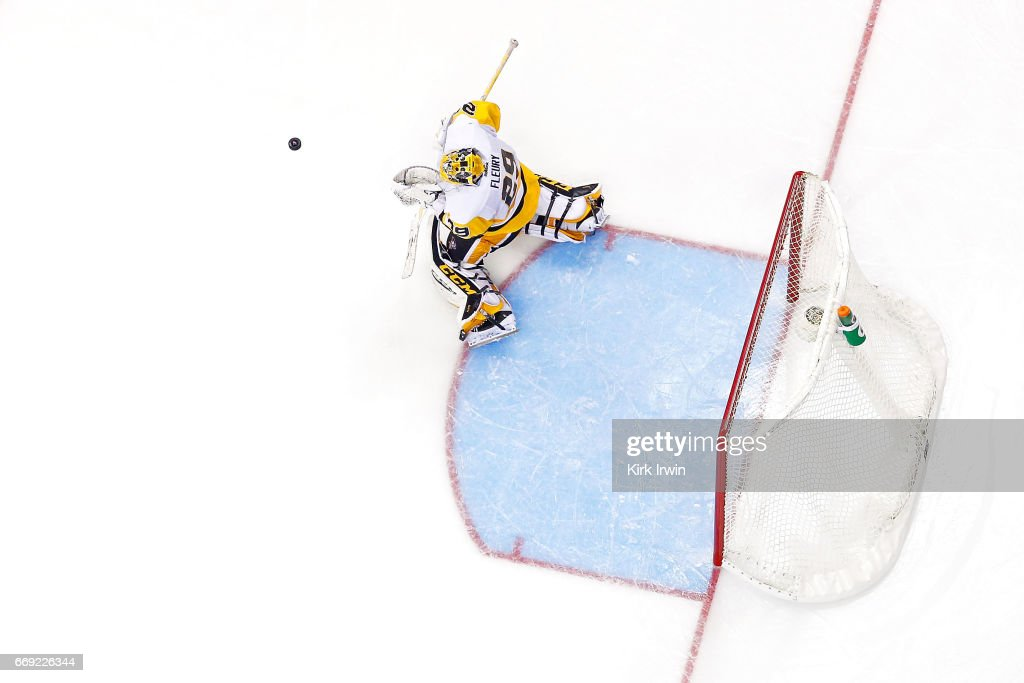 Marc-Andre Fleury #29 of the Pittsburgh Penguins stops a shot during overtime in Game Three of the Eastern Conference First Round during the 2017 NHL Stanley Cup Playoffs on April 16, 2017 at Nationwide Arena in Columbus, Ohio. Pittsburgh defeated Columbus 5-4 in overtime. Pittsburgh leads the series 3-0.