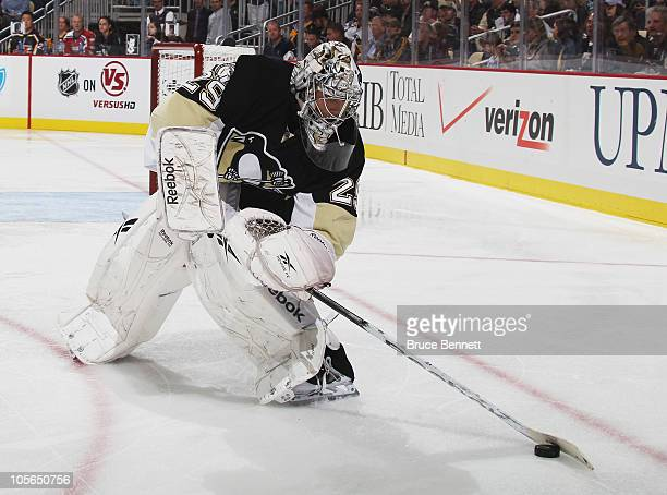 MarcAndre Fleury of the Pittsburgh Penguins tends net against the Philadelphia Flyers at the Consol Energy Center on October 7 2010 in Pittsburgh...