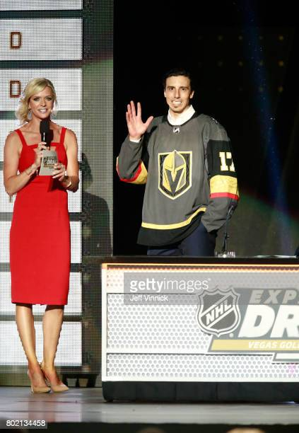 MarcAndre Fleury of the Vegas Golden Knights acknowledges the fans during the 2017 NHL Awards Expansion Draft at TMobile Arena on June 21 2017 in Las...