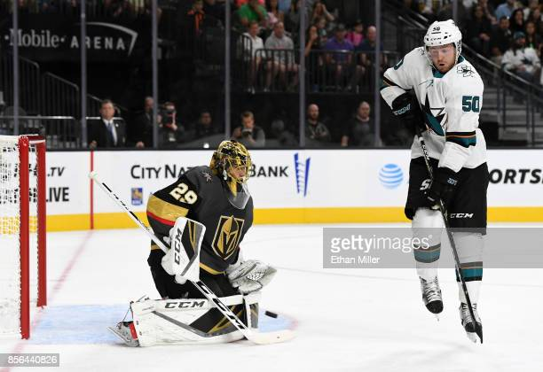 MarcAndre Fleury of the Vegas Golden Knights blocks a shot by Chris Tierney of the San Jose Sharks in the first period of their preseason game at...