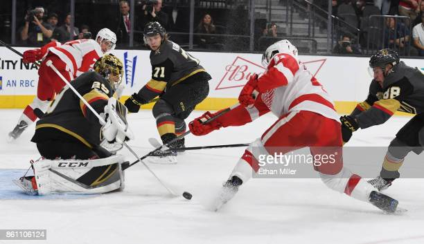MarcAndre Fleury of the Vegas Golden Knights blocks a shot by Luke Glendening of the Detroit Red Wings in the third period of their game at TMobile...