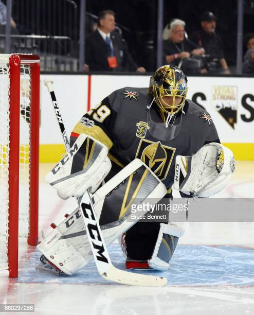 MarcAndre Fleury of the Vegas Golden Knights skates against the Arizna Coyotes during the Golden Knights' inaugural regularseason home opener at...