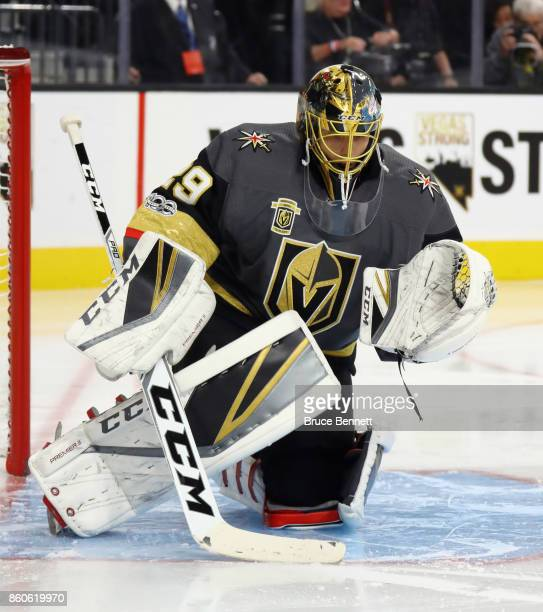 MarcAndre Fleury of the Vegas Golden Knights skates against the Arizona Coyotes during the Golden Knights' inaugural regularseason home opener at...