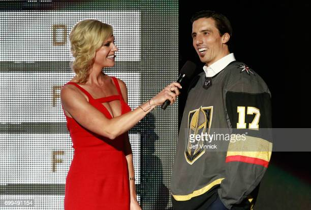 MarcAndre Fleury of the Vegas Golden Knights speaks with host Kathryn Tappen during the 2017 NHL Awards Expansion Draft at TMobile Arena on June 21...
