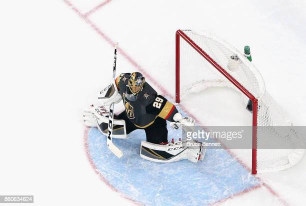 MarcAndre Fleury of the Vegas Golden Knights tends net against the Arizona Coyotes during the Golden Knights' inaugural regularseason home opener at...