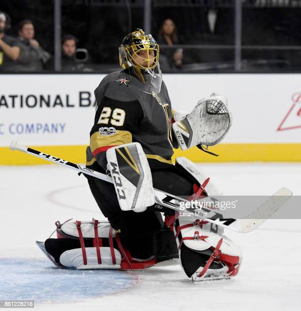 MarcAndre Fleury of the Vegas Golden Knights tends net in the first period against the Detroit Red Wings during their game at TMobile Arena on...