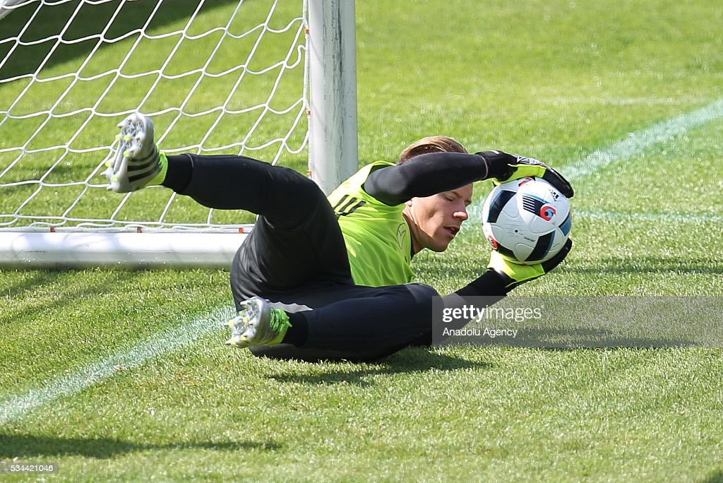 Marc-Andre Stegen of German National Football Team attends a training session at Lago Maggiore in Ascona, Switzerland on May 26, 2016. Germany's national soccer team prepares for the upcoming UEFA EURO 2016, to be held in France, in a training camp in Ascona.