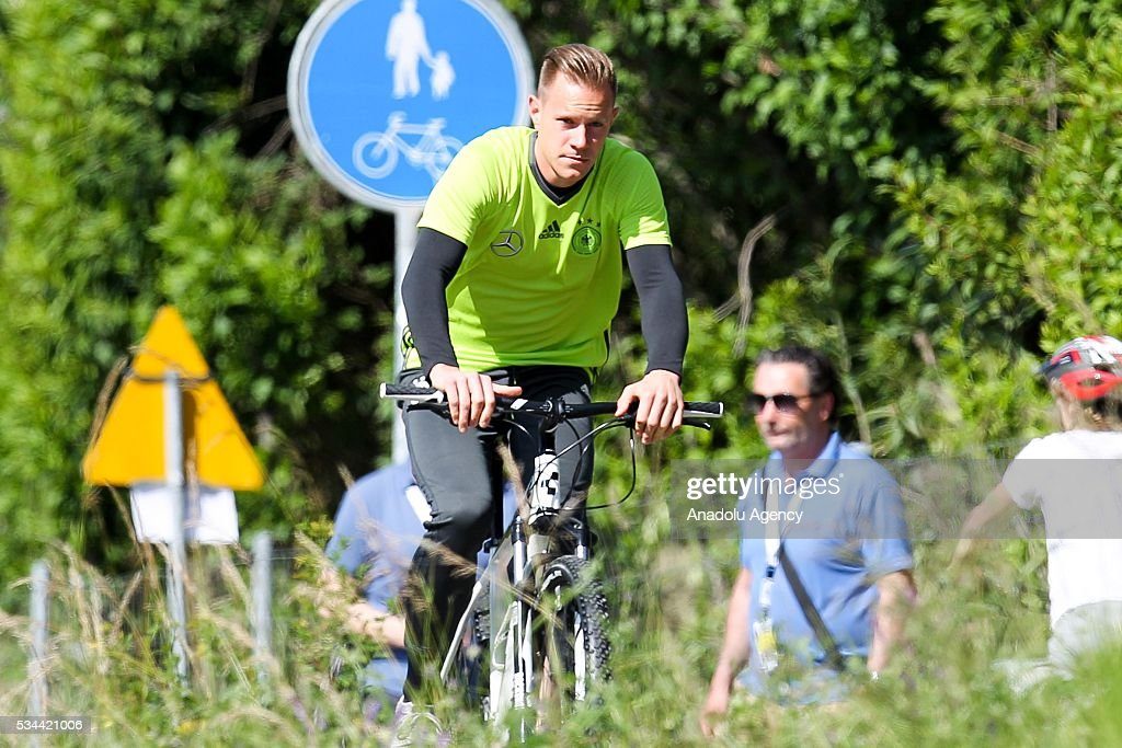 Marc-Andre Stegen of German National Football Team rides bicycles during the training session at Lago Maggiore in Ascona, Switzerland on May 26, 2016. Germany's national soccer team prepares for the upcoming UEFA EURO 2016, to be held in France, in a training camp in Ascona.