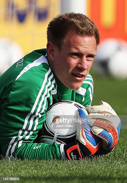 MarcAndre ter Stegen exercise during a Germany training session at stadium Tourette on May 19 2012 in Tourrettes sur Loup France