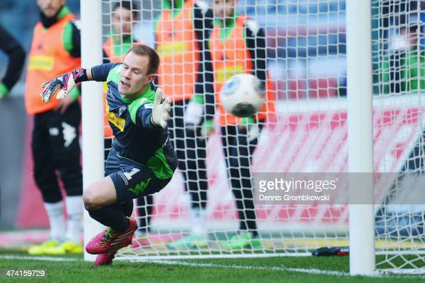 MarcAndre ter Stegen of Borussia Moenchengladbach can not save a penalty shot by Sejad Salihovic of 1899 Hoffenheim during the Bundesliga match...