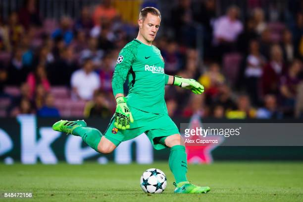 MarcAndre Ter Stegen of FC Barcelona kicks the ball during the UEFA Champions League group D match between FC Barcelona and Juventus at Camp Nou on...