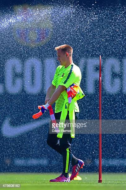 MarcAndre Ter Stegen of FC Barcelona looks on during a FC Barcelona open Media Day ahead of their UEFA Champions League Final against Juventus on...
