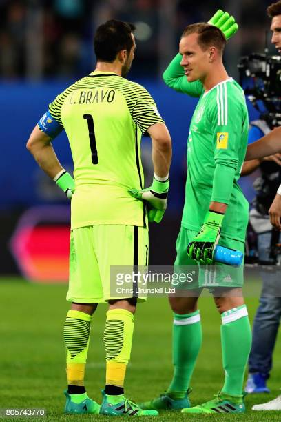 MarcAndre Ter Stegen of Germany and Claudio Bravo of Chile talk at the final whistle during the FIFA Confederations Cup Russia 2017 Final match...