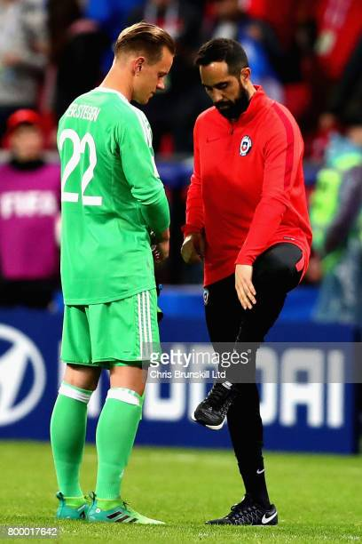 MarcAndre Ter Stegen of Germany and Claudio Bravo of Chile talk following the FIFA Confederations Cup Russia 2017 Group B match between Germany and...