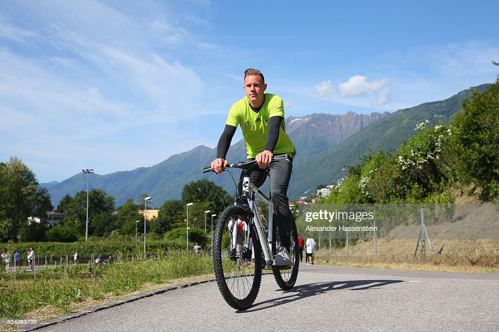<a gi-track='captionPersonalityLinkClicked' href=/galleries/search?phrase=Marc-Andre+ter+Stegen&family=editorial&specificpeople=5528638 ng-click='$event.stopPropagation()'>Marc-Andre ter Stegen</a> of Germany arrives for a training session at stadio communale on day 3 of the German national team trainings camp on May 26, 2016 in Ascona, Switzerland.