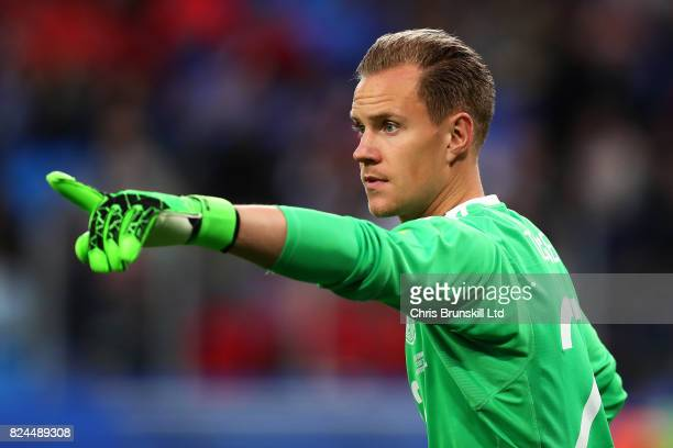 MarcAndre Ter Stegen of Germany in action during the FIFA Confederations Cup Russia 2017 Final match between Chile and Germany at Saint Petersburg...