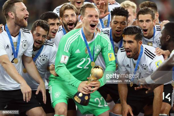 MarcAndre ter Stegen of Germany lifts the FIFA Confederations Cup trophy after the FIFA Confederations Cup Russia 2017 final between Chile and...