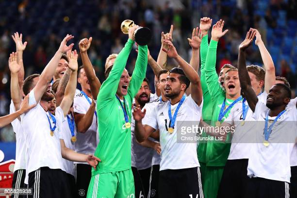 MarcAndre Ter Stegen of Germany lifts the trophy following the FIFA Confederations Cup Russia 2017 Final match between Chile and Germany at Saint...