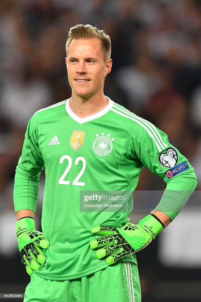 Marc-Andre ter Stegen of Germany smiles after the FIFA 2018 World Cup Qualifier between Germany and Norway at Mercedes-Benz Arena on September 4, 2017 in Stuttgart, Baden-Wuerttemberg.