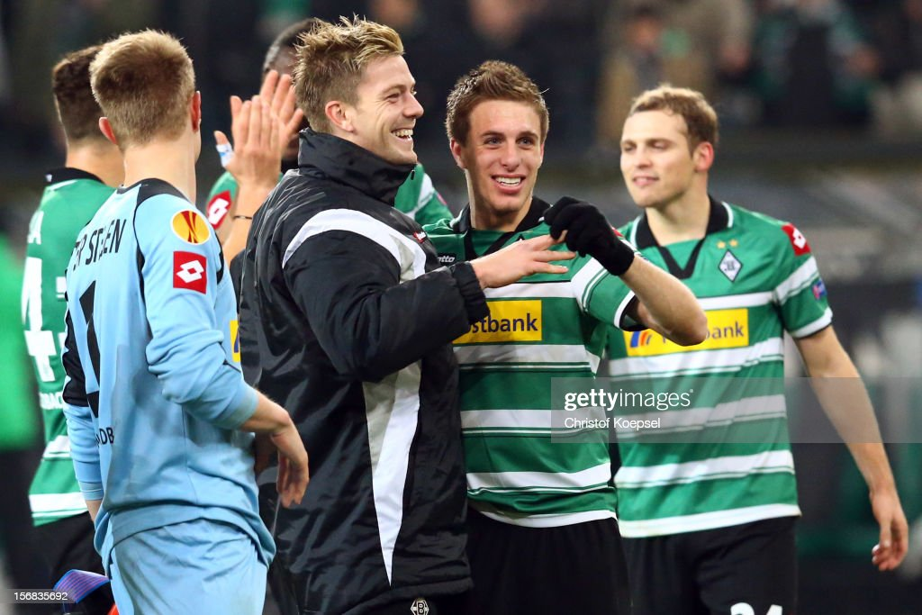 Marc-Andre ter Stegen, <a gi-track='captionPersonalityLinkClicked' href=/galleries/search?phrase=Thorben+Marx&family=editorial&specificpeople=764793 ng-click='$event.stopPropagation()'>Thorben Marx</a> and Patrick Herrmann of Moenchengladbach celebrate after the UEFA Europa League group C match between Borussia Moenchengladbach and AEL Limassol FC at Borussia Park Stadium on November 22, 2012 in Moenchengladbach, Germany. The match between Moenchengladbach and Limassol ended 2-0.