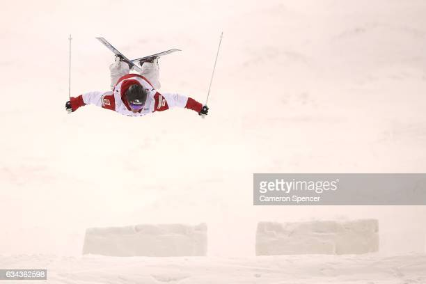 MarcAntoine Gagnon of Canada performs an air during a men's moguls training session prior to the FIS Freestyle World Cup at Bokwang Snow Park on...
