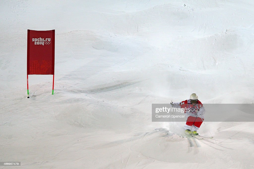 Marc-Antoine Gagnon of Canada trains during moguls practice at the Extreme Park at Rosa Khutor Mountain ahead of the Sochi 2014 Winter Olympics on February 5, 2014 in Sochi, Russia