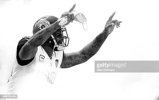 Marcedes Lewis of the Jacksonville Jaguars takes the field during a game against the Carolina Panthers at EverBank Field on September 13 2015 in...