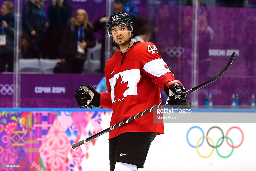 <a gi-track='captionPersonalityLinkClicked' href=/galleries/search?phrase=Marc-Edouard+Vlasic&family=editorial&specificpeople=880807 ng-click='$event.stopPropagation()'>Marc-Edouard Vlasic</a> #44 of Canada celebrates after defeating the United States 1-0 during the Men's Ice Hockey Semifinal Playoff on Day 14 of the 2014 Sochi Winter Olympics at Bolshoy Ice Dome on February 21, 2014 in Sochi, Russia.