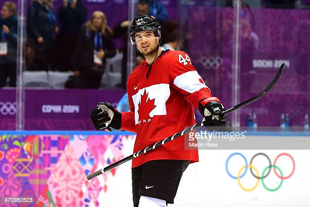 MarcEdouard Vlasic of Canada celebrates after defeating the United States 10 during the Men's Ice Hockey Semifinal Playoff on Day 14 of the 2014...